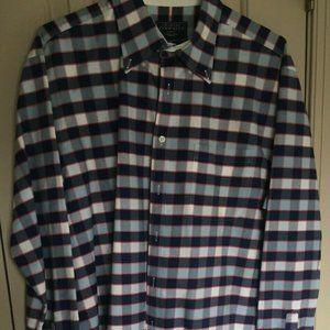 Charles Tyrwhitt XL Blue Pink Striped Oxford Weave